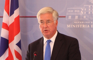 Defence Secretary Michael Fallon during a press conference