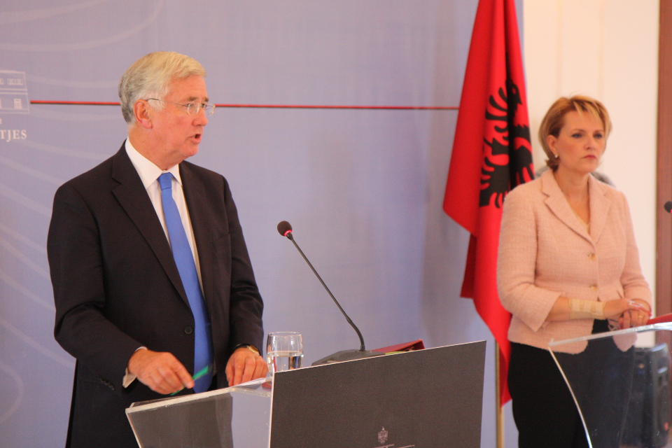 Defence Secretary Michael Fallon with Defence Minister Mimi Kodheli