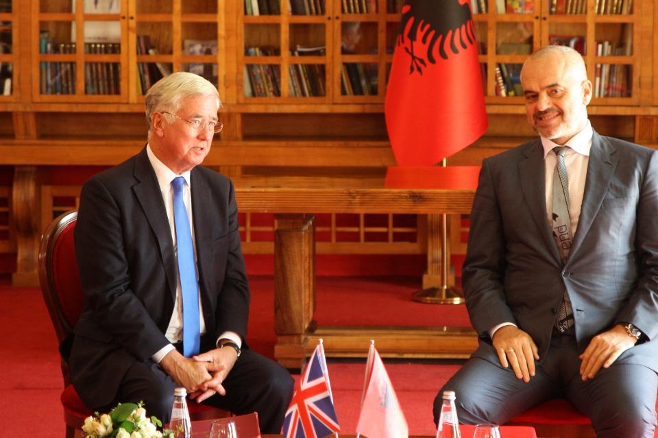 Defence Secretary Michael Fallon with Prime Minister Edi Rama