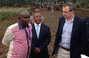 DFID Minister James Wharton in Rwanda with the Governor of Northern Province meeting beneficiaries of UK aid. Picture: William Gelling