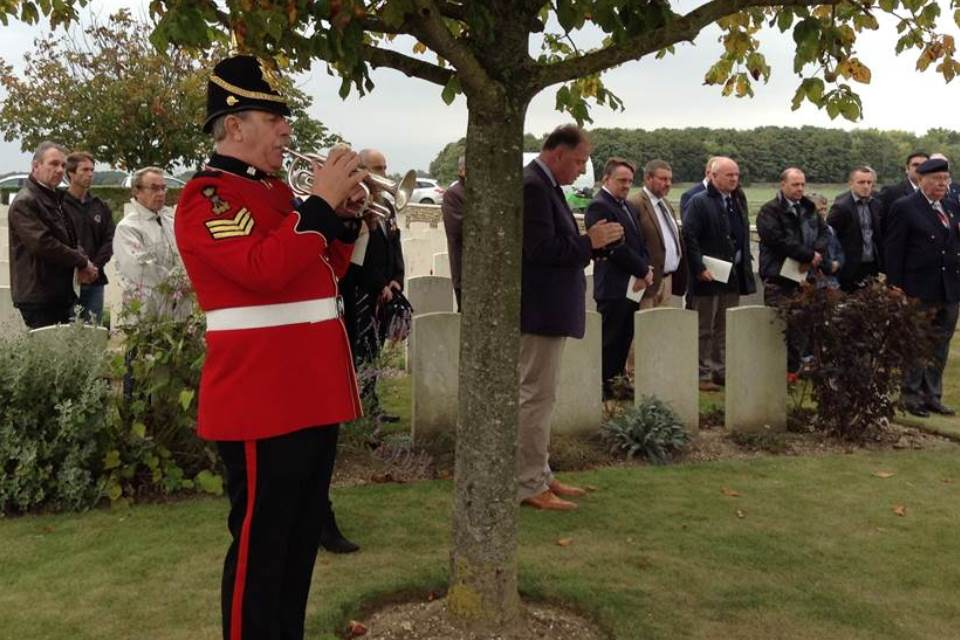 A bugler from the Royal Anglian Band pays tribute to the two unknown soldiers - Crown Copyright - All rights reserved