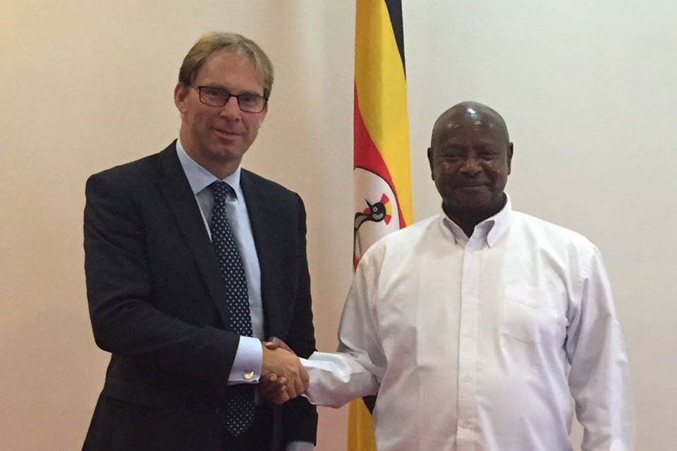 Minister for the Middle East and Africa, Mr Tobias Ellwood MP with President Museveni