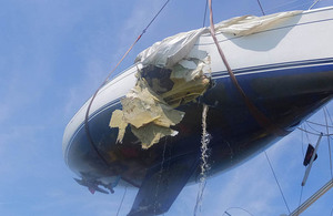 Recovery of a damage yacht following a collision