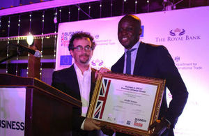 Mr. Kadri Lomo, receiving his ceritifcate from Jon Benjamin, British High Commissioner.