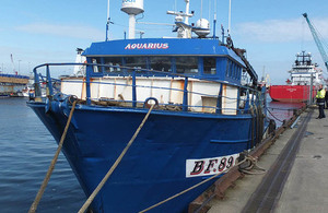 Fishing vessel Aquarius alongside in Aberdeen