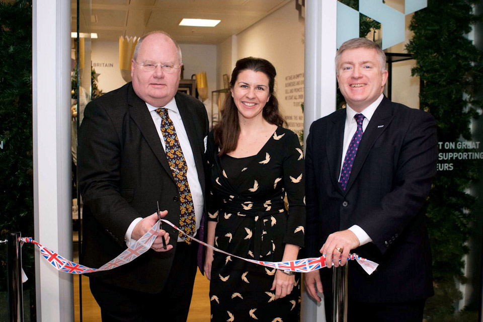 Cutting the ribbon on the pop-up shop