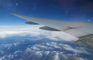 In flight over the Alps.