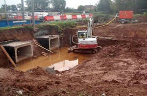 Two of 4 new culverts installed under the A39 in Cannington to reduce flood risk