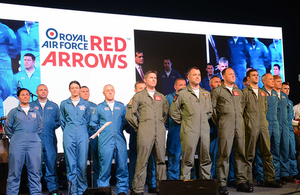 RAF's Red Arrows in Delhi celebrating Indian Air Force day and UK/India hi-tech partnerships