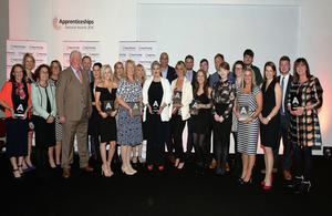 North East Apprentices and Employer Finalists and host George Richie Chair of North East Apprenticeship Ambassador Network 2016