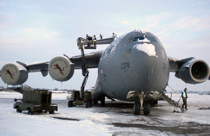An RAF C-17 transport aircraft