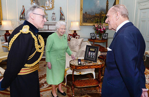 Her Majesty The Queen and His Royal Highness The Duke of Edinburgh both received their Long Service and Good Conduct medals at Buckingham Palace today