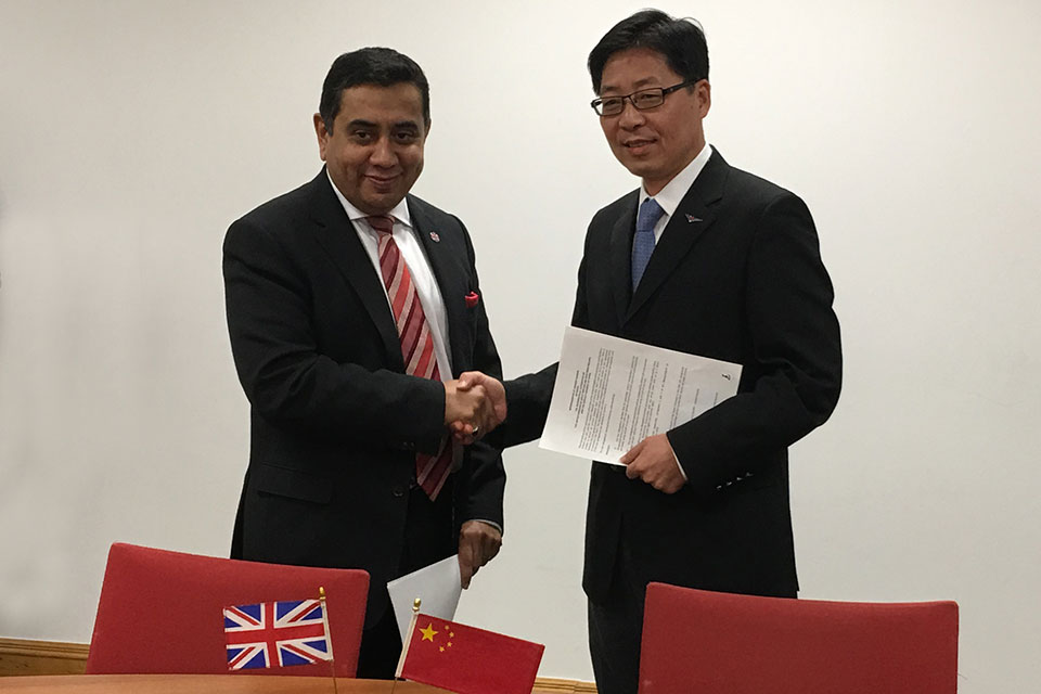 UK and China sign new deal to increase flights between both countries in boost for Global Britain.