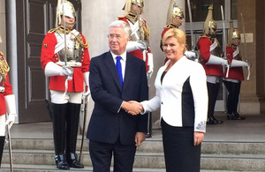 Defence Secretary welcomes President Grabar-Kitarovic to the Ministry of Defence