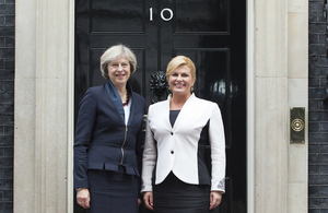Prime Minister Theresa May with Croatian President Kolinda Grabar-Kitarović outside 10 Downing Street.