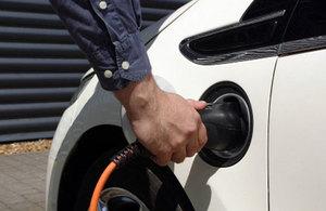 Charging a car.