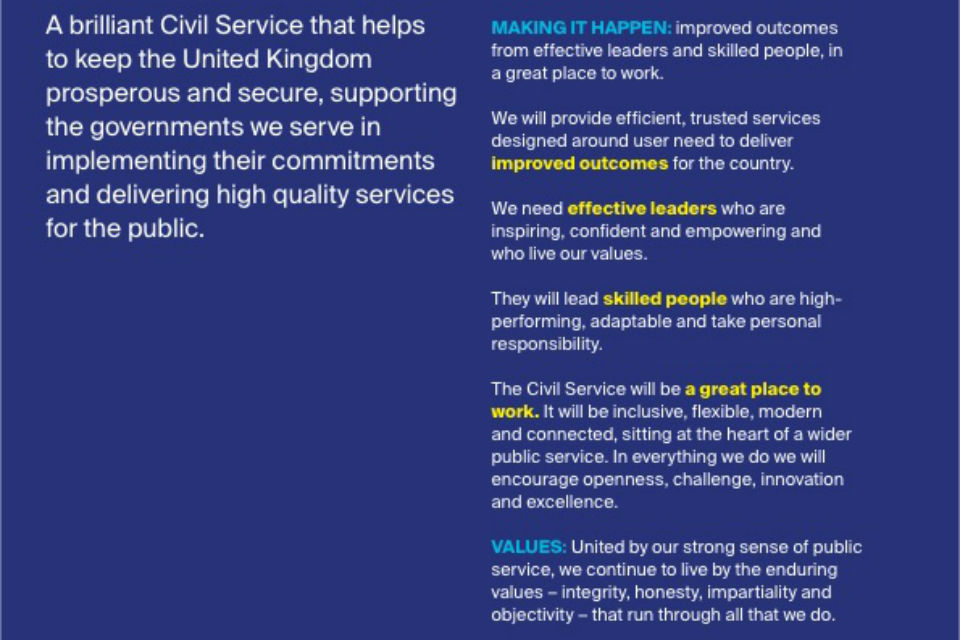 'A Brilliant Civil Service' description and supporting themes