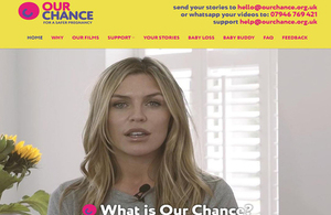Home page of the Our Chance website, featuring Abbey Clancy