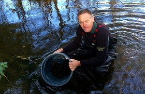 Image shows Paul Frear putting fish into the river