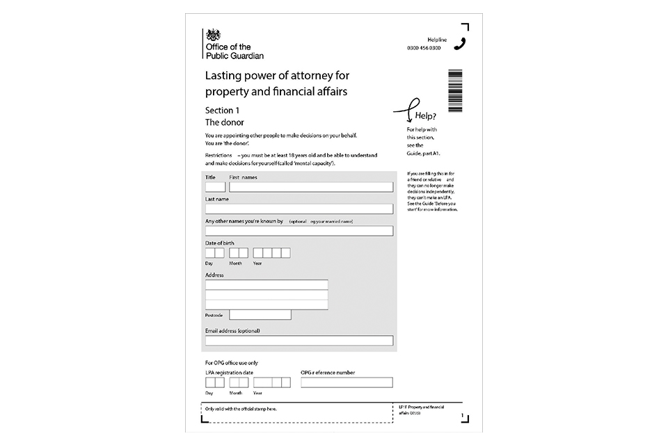 power of attorney form uk  LP11 Make and register your lasting power of attorney: a ...
