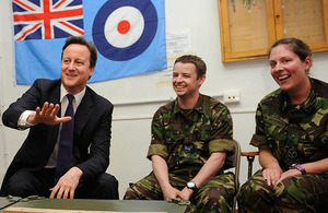 David Cameron talks with RAF ground crew at Gioia del Colle