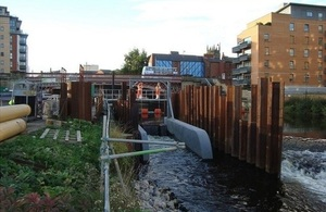 Image shows the removable weir at Leeds