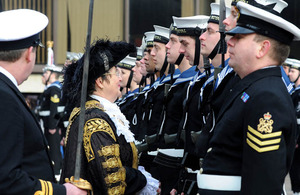 The Lord Mayor of Portsmouth inspects sailors