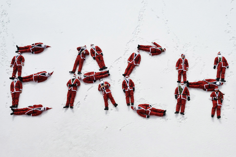HMS Protector's Father Christmasses