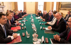 Prime Minister Theresa May and the Joint Ministerial Committee in the Cabinet room at 10 Downing Street.