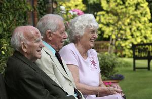 Elderly people in a garden