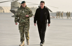 Prime Minister David Cameron arriving in Afghanistan