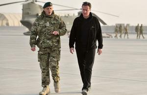 Prime Minister David Cameron arriving in Afghanistan