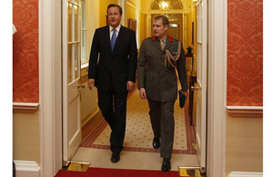 Prime Minister David Cameron and Colonel Jim Morris, Royal Marines