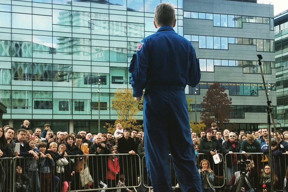 Tim addressing crowds in Media City, Salford.