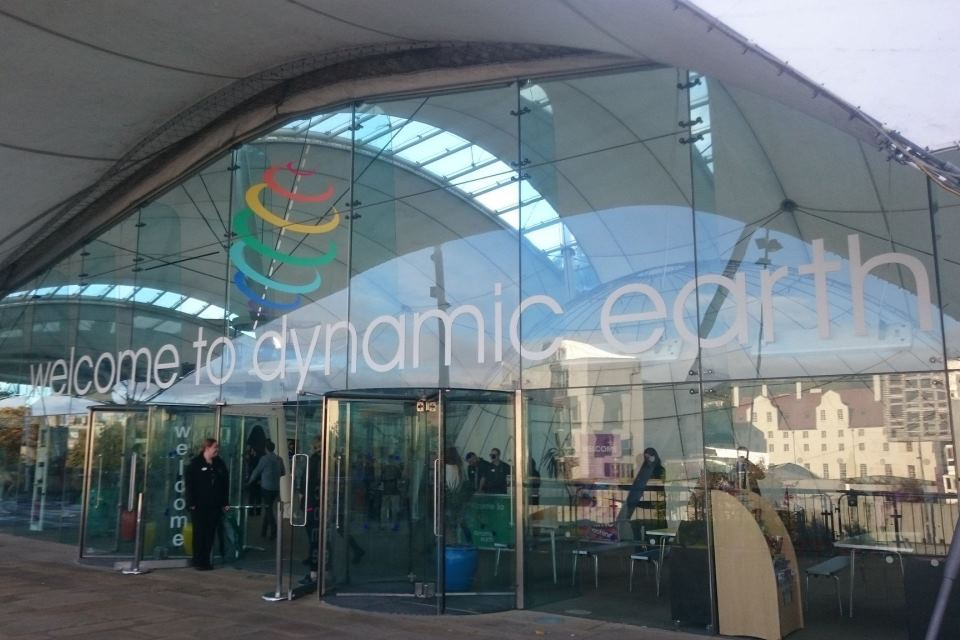 Outside image of the One Dynamic Earth Science Centre, Edinburgh.