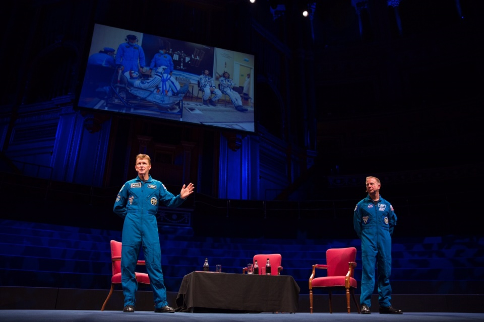 Tim Peake and Tim Kopra on the main stage in the Royal Albert Hall.