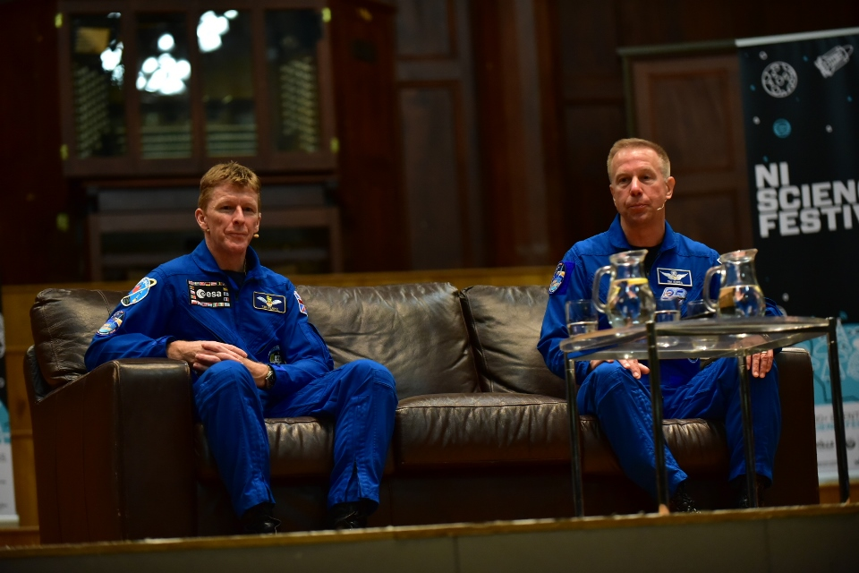 Astronauts Tim Peake and Tim Kopra on stage at Ulster Hall, Belfast.