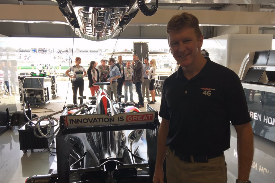 Tim Peake at the US Austin Grand Prix with a McLaren Formula 1 car.