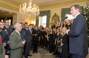 David Cameron addresses members of Her Majesty's Armed Forces