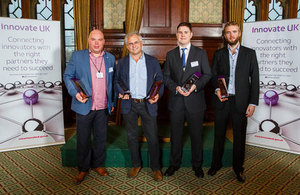 Winners of the 2016 SME innovation awards. From left, Andy Barr, Barrnon Ltd, Toby Peters, Dearman, Peter Ainge, Transvac Systems, and Alex Fisher, Saturn Bioponics.