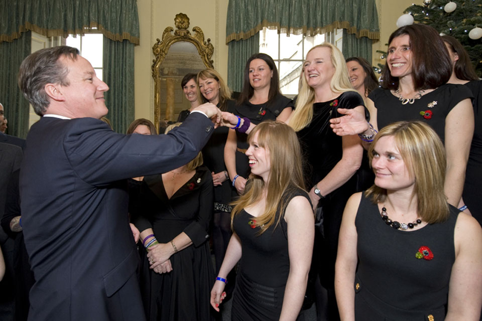David Cameron meets members of the Military Wives Choir
