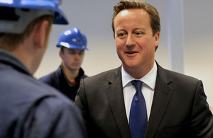 David Cameron during his visit to Rosyth in Scotland