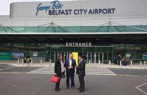 Lord Ahmad visiting Belfast City Airport.