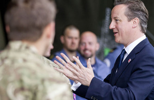 David Cameron meets military personnel