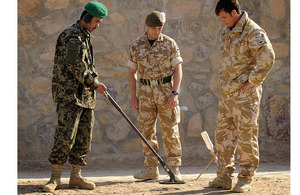 British soldiers train members of the Afghan National Army