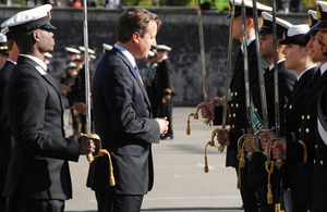 Prime Minister David Cameron inspects cadets