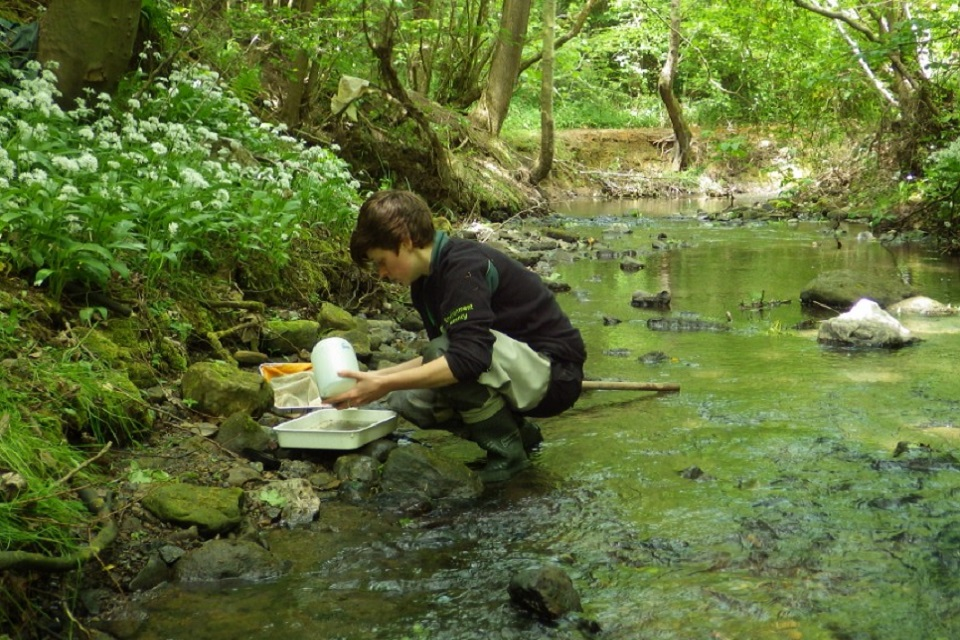 Image shows the Environment Agency's Jess Anson carrying out a survey at Saltburn Gill