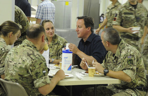 David Cameron shares breakfast with British troops
