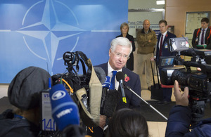 Defence Secretary Michael Fallon speaks to the media at NATO's October meeting of defence ministers