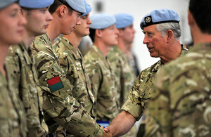 Prince Charles shakes hands with a soldier